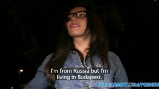 PublicAgent Hot brunette spreads her legs for outdoor fucking  sex for money sex for cash glasses outdoors outside amateur cumshot public pov real brunette reality european publicagent sex with stranger
