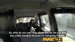 FakeTaxi Saucy brunette talks driver into sex  point of view british amateur blowjob public camera faketaxi cock sucking spycam car reality gagging tattoos deep throat backseat taxi