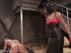 Leather Dominatrix Uses Pathetic Slave