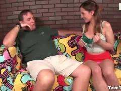 Teen slug jerking the mature perverted man