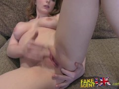 FakeAgentUK Huge facial for hot petite librarian on casting couch