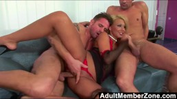 Alishia stuffing 2 cocks in all her holes