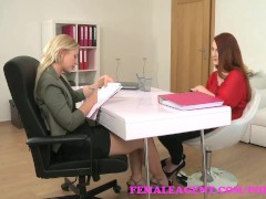 FemaleAgent. Sexy blonde slides her strap on into slim redhead