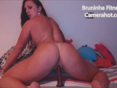 Fucking hard her toy - Sitting riding dildo and shaking ass - Dirty latina