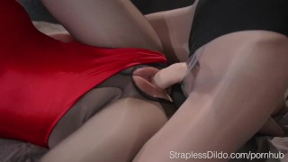 Slender Girl in Pantyhose and Leotard Fucks her GF with Strapon dildo girl on girl lesbians stocking nylon strapless dildo kink strapon straplessdildo leotards lesbian sex toy spandex panyhose adult toys doggystyle