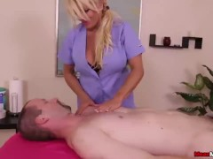 Busty milf dominates a poor man