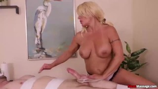 Busty milf dominates a poor man  big tits teasing face sitting femdom mom blonde amateur meanmassages massage milf handjob mother bondage big boobs gaging