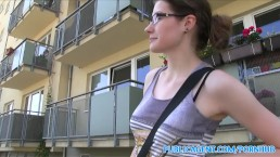 PublicAgent Hot glasses babe fucks in public bathroom