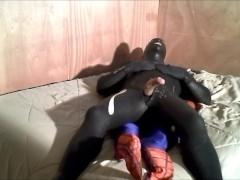 rubberknite orca wetsuit jerkoff lying on top of spiderman