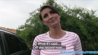 PublicAgent Short haired brunette MILF bent over and fucked cum-on-tits short-hair publicagent mom blowjob amateur real cumshot mother outdoors outside pov reality point-of-view