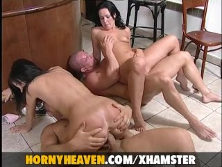Classy blond screwed by two guys