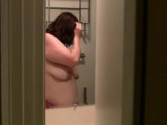 Spying on Wife Karma in the shower - Part 1