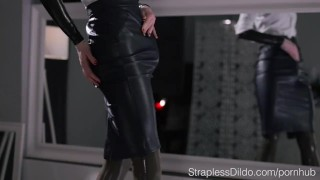 Maria Pie in Latex Strapon Cums  catsuit pantyhose self facial wet strapless dildo kink solo office lady masturbate strapon latex straplessdildo cumshot oil high heels adult toys