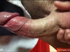 Handsome male gets wanked his huge cock by me !