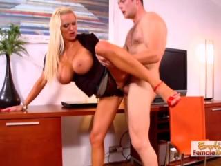 Horny Stud Enjoying Sexy Blonds Huge Boobs