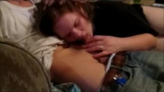 Mom give son a blowjob on couch b4 going to bed and swallow his cum