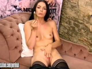 Horny gorgeous babe in leather catsuit fucks tight pussy with gold toy