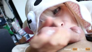 Adorable Teen In Kigurumi Gives Amazing Blowjob Kawaii_girl