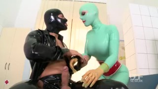Latex Lucy has a huge Orgasm in clinic fuck session  doggy style dominatrix houseoftaboo big-tits enhanced-tits blowjob ddfnetwork big-boobs ball licking hardcore kink reverse-cowgirl latex fingering cum-in-mouth