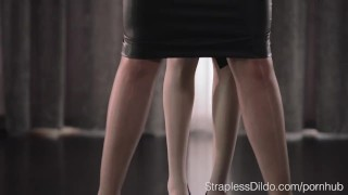 Hairy Pussy Brunette Girl Fucked with a Strapon by Mia  strapon straplessdildo facesitting lesbians nylon pantyhose kink hairy-pussy girl-on-girl fingering high-heels strapless dildo adult toys