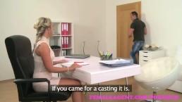 FemaleAgentNew sexy blonde agent empties studs balls during first casting