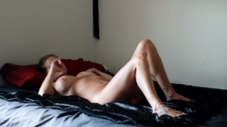 Young, Busty Ashley Getting Pounded On Black Silk Sheets, Drinks Cum In HD!