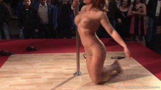 Amazing naked pole dancer