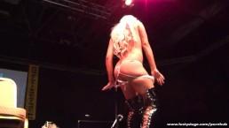 Busty blonde MILF shows her body