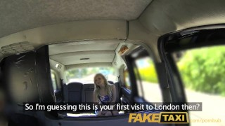 Preview 1 of FakeTaxi English cock in the ass for hot blonde Canadian passenger in taxi