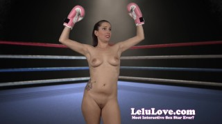 Lelu Love-Naked Boxing FemDom Bitch  makeup homemade boxing hd femdom amateur solo lelu fetish domination gloves brunette socks lipstick ponytail natural tits lelu love