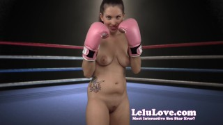 Lelu Love-Naked Boxing FemDom Bitch  homemade boxing hd femdom amateur solo lelu fetish domination gloves brunette socks lipstick natural tits ponytail makeup lelu love