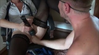Double Penetration with Big Strap on in Ass and Cock in Pussy and squirting  strap on ass fuck double penetration homemade dp strapon squirt amateur hardcore squirting rough anal orgasm doggystyle fisting dp strap on and cock