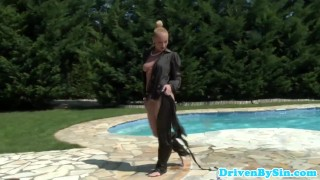 Euro femdom pornstar Kathia Nobili in a pool  outside oral femdom blowjob cumshot public glamcore milf cock sucking storyline czech elegantraw natural tits swimmingpool outsie drivebysin analtoy