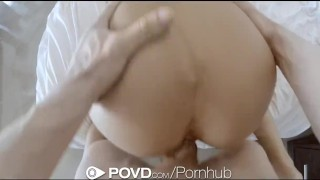 POVD - August Ames gets her ass slapped and fucked  doggy style big-tits cock-sucking shaved-pussy oral hd point-of-view canadian blowjob pov cusmhot hardcore brunette reverse-cowgirl raw big-dick povd