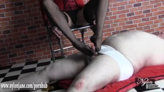 Preview 4 of Hot Milf gives silky nylon foot wank until sissy slave cums on sexy feet