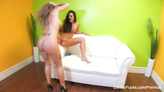Christy and Asa's hot lesbian fuck session  big tits high heels lingerie asian blonde pornstar puba tattoo skinny busty hardcore japanese lesbian brunette christyfucks tattoos big boobs girl on girl