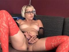 Stockinged amateur blonde Vi fingering her delicious slit