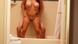 Fucking And Blowing In The Shower On Vacation! Big Tits Amateur Rides Sucks