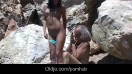 Dirty brunette Renata Black rimming and sucking overaged old cock and ass