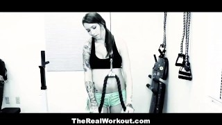 Preview 1 of TheRealWorkout - Tatted Up Trainer Slut Fucks Her Client