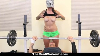 Preview 3 of TheRealWorkout - Tatted Up Trainer Slut Fucks Her Client