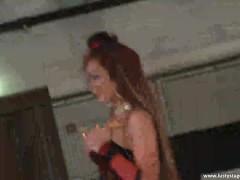 Gorgeous slut fucks dildo on the stage