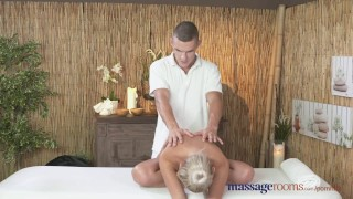 Preview 1 of Massage Rooms Horny petite blonde has her shaved hole filled up to the max