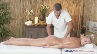 Preview 5 of Massage Rooms Horny petite blonde has her shaved hole filled up to the max