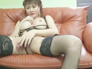 Krystal shows her big asian tranny ass