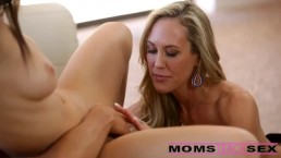 Surprise threesome with his step mom and girlfriend