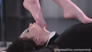 Sex Starved Doll is Strapon Fucked Hard by Maria Pie  girl on girl lesbians pantyhose kink hairy pussy strapon straplessdildo leoatrds sex toys footjob straples dildo foot fetish high heels adult toys fishnets
