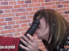 Sexy Milf dominatrix fucks masturbating TVs tight ass with big strapon cock