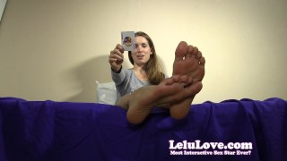 Are YOU ready to play a tease and denial card game with me?  lelu love homemade teasing humiliation foot femdom amateur pov soles fetish domination brunette feet natural tits solo toe denial chastity