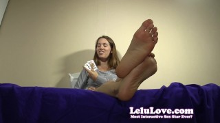 Are YOU ready to play a tease and denial card game with me? denial feet lelu love domination homemade femdom teasing amateur solo toe pov soles brunette natural tits fetish humiliation chastity foot